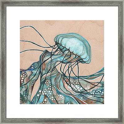 Square Lucid Jellyfish On Wood Framed Print by Tamara Phillips