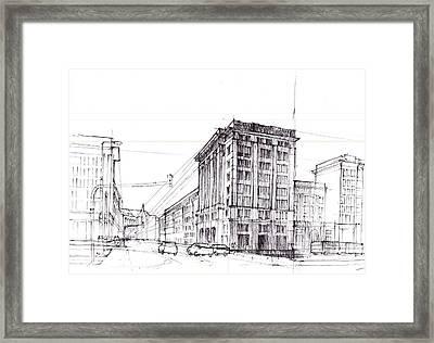 Square Of Constitution Sketch Framed Print by Krystian  Wozniak
