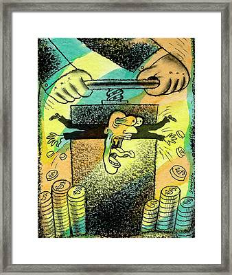 Squeezing The Tax Framed Print by Leon Zernitsky