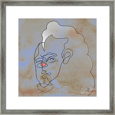 Squigglehead With Pink Eye And White Hair Framed Print by Paul Davenport