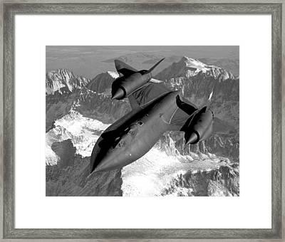 Sr-71 Blackbird Flying Framed Print by War Is Hell Store
