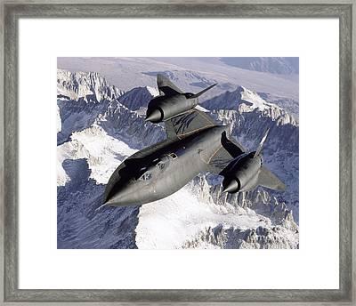 Sr-71b Blackbird In Flight Framed Print by Stocktrek Images