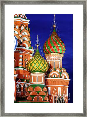 St Basils Cathedral In Moscow Russia Framed Print by Oleksiy Maksymenko
