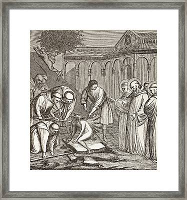 St. Benedict And The Devil. When Framed Print by Vintage Design Pics