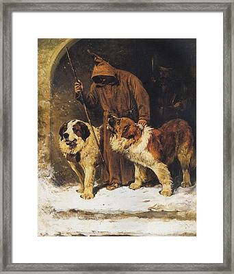 St. Bernards To The Rescue Framed Print by John Emms