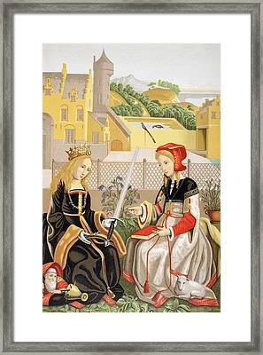 St. Catherine Of Alexandria And St Framed Print by Vintage Design Pics