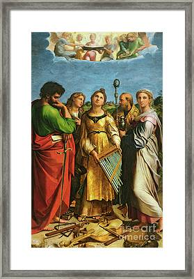 St Cecilia Surrounded By St Paul, St John The Evangelist, St Augustine And Mary Magdalene Framed Print by Raphael
