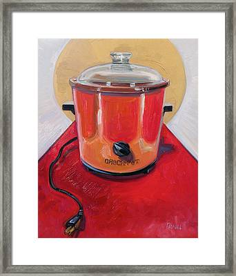St. Crock Pot In Orange Framed Print by Jennie Traill Schaeffer