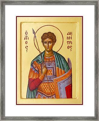 St Demetrios The Great Martyr And Myrrhstreamer Framed Print by Julia Bridget Hayes