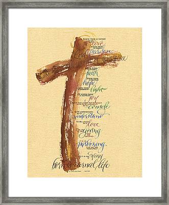 St Francis Peace Prayer  Framed Print by Judy Dodds