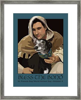 St. Francis With Greyhound Framed Print by Kris Hackleman