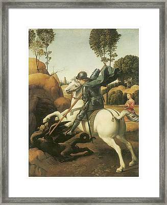 St. George And The Dragon Framed Print by Raffaello Sanzio