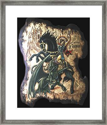 st George fighting the Dragon Framed Print by Iosif Ioan Chezan