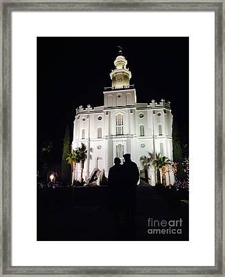 St George Lds Temple At Night During Christmas Season Framed Print by Richard W Linford