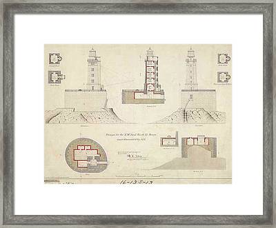 St. George Reef Lighthouse Schematics Framed Print by ArtworkAssociates