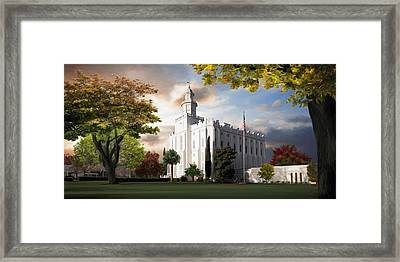 St. George Temple Framed Print by Brent Borup
