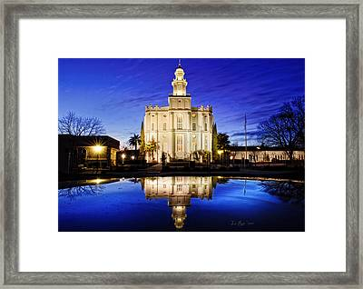 St George Temple Reflection Framed Print by La Rae  Roberts