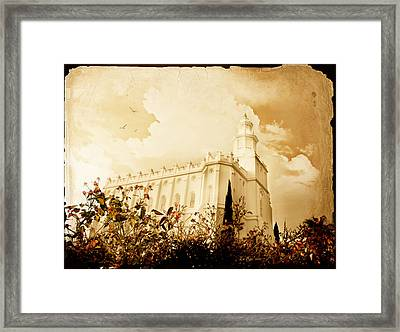 St George Temple Roses Framed Print by La Rae  Roberts