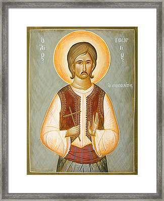 St George The New Martyr Of Chios Framed Print by Julia Bridget Hayes