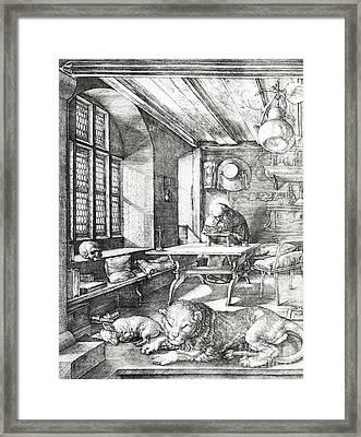 St Jerome In His Study Framed Print by Albrecht Durer or Duerer