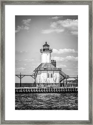 St. Joseph Michigan Lighthouse In Black And White Framed Print by Paul Velgos