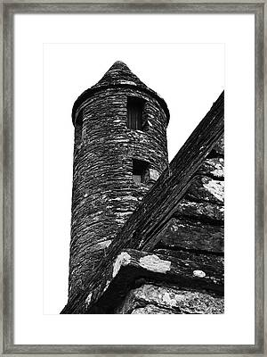 St Kevins Chapel Tower Glendalough Monastary County Wicklow Ireland Black And White Framed Print by Shawn O'Brien