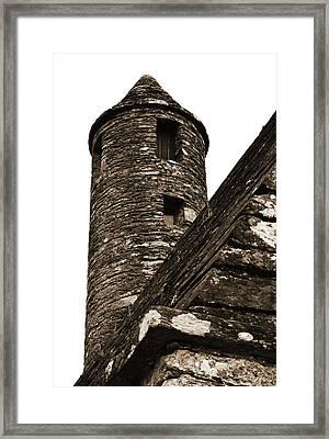 St Kevins Chapel Tower Glendalough Monastary County Wicklow Ireland Sepia Framed Print by Shawn O'Brien