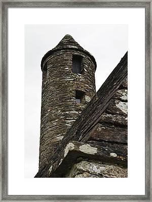 St Kevins Chapel Tower Glendalough Monastary County Wicklow Ireland Framed Print by Shawn O'Brien