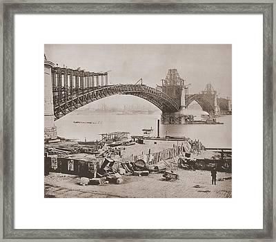 St. Louis Bridge Under Construction Ca Framed Print by Everett