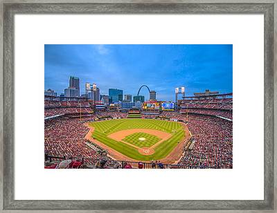 St. Louis Cardinals Busch Stadium Creative Blue Framed Print by David Haskett