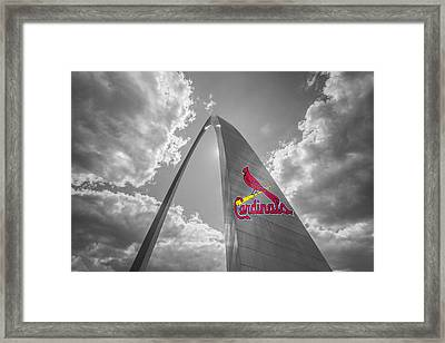 St. Louis Cardinals Busch Stadium Gateway Arch 1 Framed Print by David Haskett