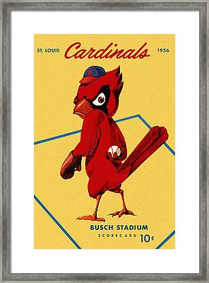 St. Louis Cardinals Vintage 1956 Program Framed Print by Big 88 Artworks