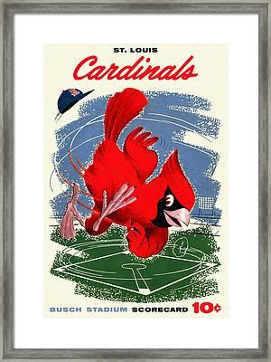St. Louis Cardinals Vintage 1958 Scorecard Framed Print by Big 88 Artworks