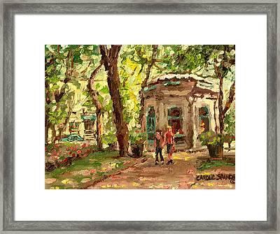 St Louis Square St Denis Street Framed Print by Carole Spandau