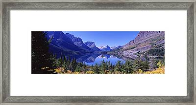 St Mary Lake Glacier National Park Mt Framed Print by Panoramic Images