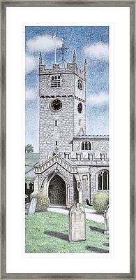St Michael And All Angels Church Clock  Beetham Cumbria  Framed Print by Sandra Moore