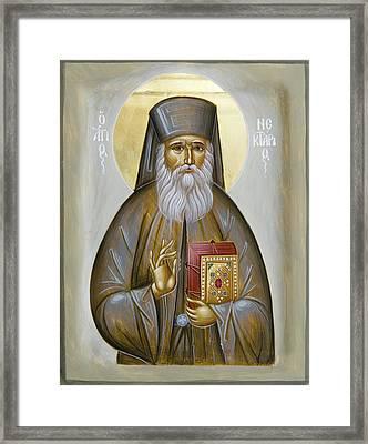 St Nektarios Of Aigina Framed Print by Julia Bridget Hayes