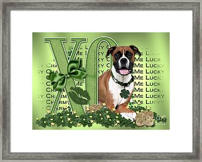 St Patricks Day - My Boxer Is Me Lucky Charm Framed Print by Renae Laughner