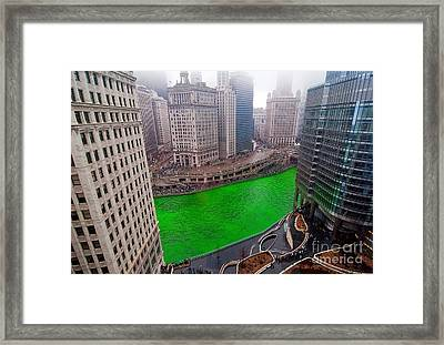 St Patrick's Day Chicago  Framed Print by Jeff Lewis