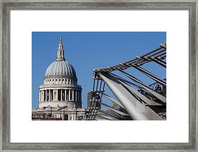St Pauls Cathedral And The Millenium Bridge  Framed Print by David Pyatt