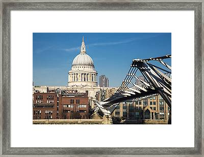 St Pauls Cathedral And The Millenium Bridge, London Framed Print by David Henderson
