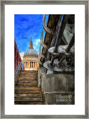 St. Paul's Cathedral And The Millennium Bridge Framed Print by Lois Bryan