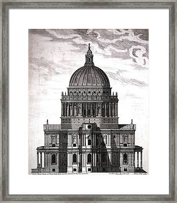 St. Pauls Drawn By Christopher Wren Framed Print by Wellcome Images