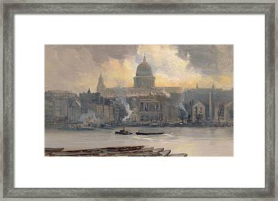 St Paul's From The River Framed Print by George Hyde Pownall