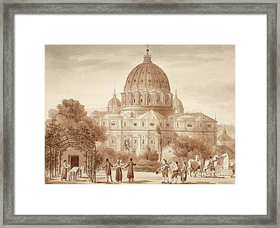 St Peters Seen From A Vineyard, 1833 Framed Print by Agostino Tofanelli