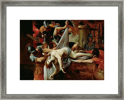 St. Sebastian Thrown Into The Cloaca Maxim Framed Print by Lodovico Carracci