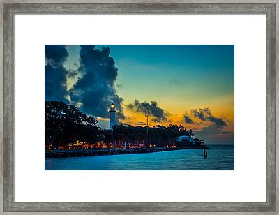 St. Simons Light Framed Print by Chris Bordeleau