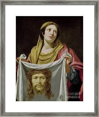 St. Veronica Holding The Holy Shroud Framed Print by Simon Vouet