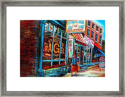 St. Viateur Bagel Bakery Framed Print by Carole Spandau
