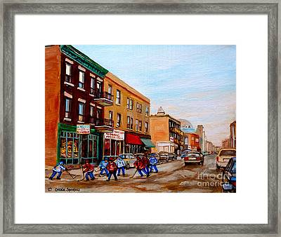 St. Viateur Bagel Hockey Game Framed Print by Carole Spandau